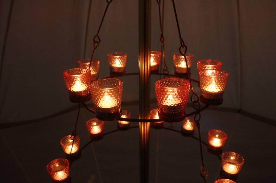 eclairage chandelier double tente
