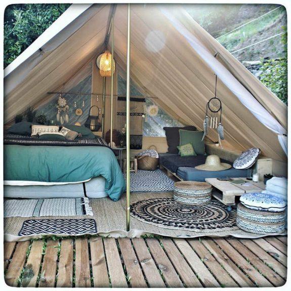 tente de groupe Patrol deluxe camping glamping toile en coton couleur sable