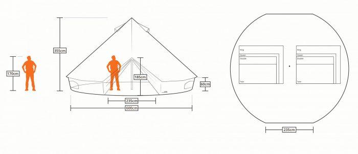 taille et proportion de tentes sibley 600 DD
