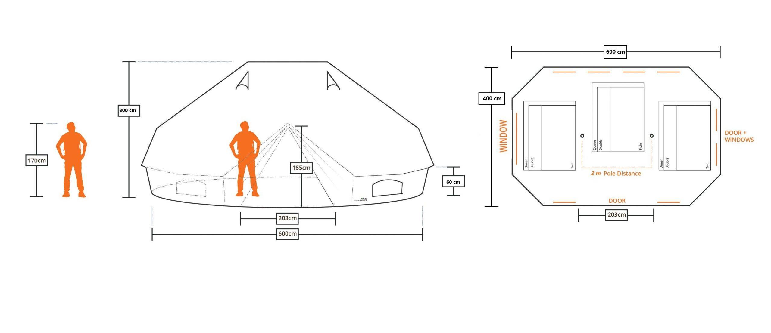 Taille et proportion des tentes sibley txin 600