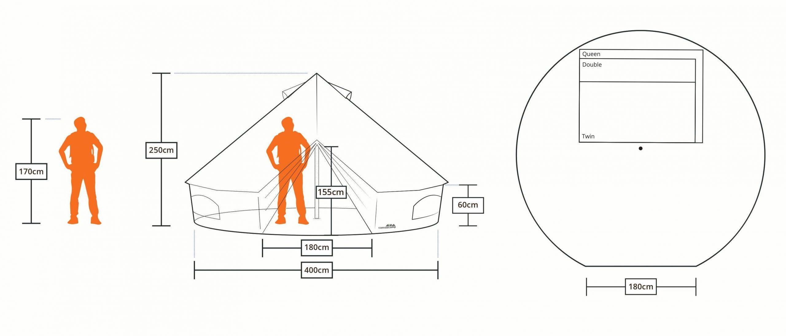 descriptifs et dimensions des tentes sibley 400